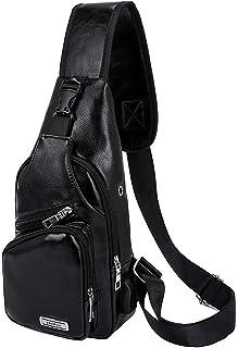 Men's Leather Sling Bag USB Crossbody Bags Waterproof Chest Shoulder Bag for Travel (Black)