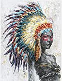 Canvas Wall Art Indian Girl Chief Native American Women Painting Prints Artwork Colorful Feathered headdress 12'x16' Retro Abstract Decor for Bedroom Bathroom Home Decorations Framed Ready to Hang