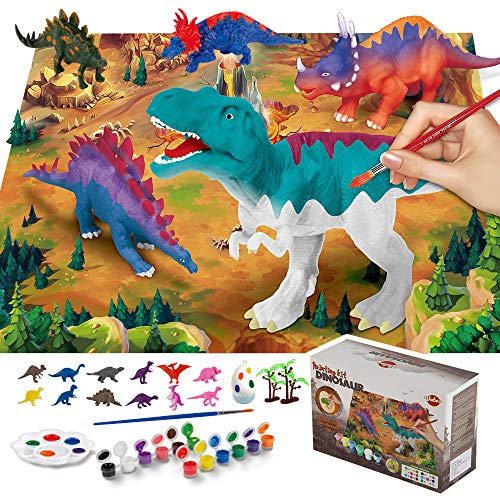 VATOS 42 PICS Dinosaur Painting Kit and Dinosaur Toys for Kids, Kids Crafts and Kids Paint,Paint Your Own Dinosaur DIY Set,Best Dinosaur Toys for Kids 3 4 5 6 7 8