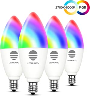 Smart Light Bulbs with White Light 2700k-6000k RGBW - 6W LED Candalabra Bulb E12 Base - 60W Equivalent - WiFi Multicolor Light Bulb - RGB Color Changing Bulb, Works with Google Assistant IFTTT, 4 Pack