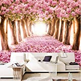 Wuyyii Custom Modern Romantic Wall Mural Pink Flowers Trees Forest Photo...