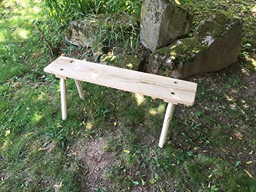 Schmale Mittelalterliche Holzbank, gerade Kanten zum stecken, aus Eiche 25-30 mm mit 8-kantigen Beinen, 115 cm lang für Larp, Reenactor, Tavernenbestuhlung