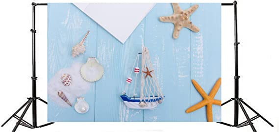10x8ft Vinyl Nautical Backdrop for Photography Sailboat Conch Shells Starfish Background Marine Theme Summer Party Seaman Sailor Kids Baby Photo Booth Shoot Studio Props