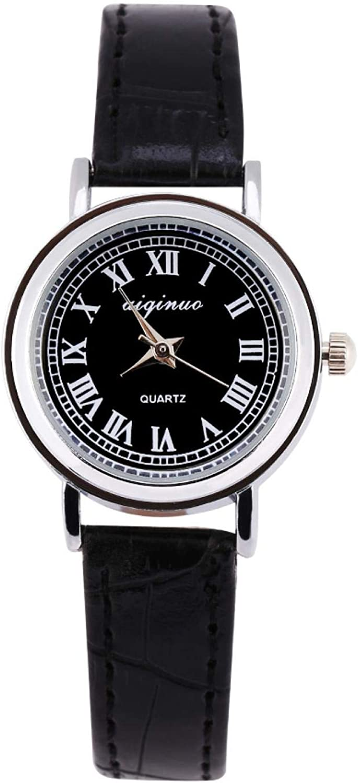 Reloj de pulsera analógico de cuarzo femenino de 4 tipos, reloj de pulsera con correa de aleación/Pu de apariencia pequeña redonda, perfecto para estudiantes, mujeres(Esfera de correa negra)