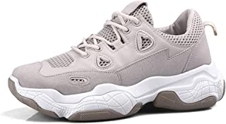 Shangruiqi Casual Sneaker for Men Outdoor Walking Shoes Lace up Synthetic Leather Breathable Mesh Lining Thick Outsole Anti-Wear (Color : Beige, Size : 7.5 UK)