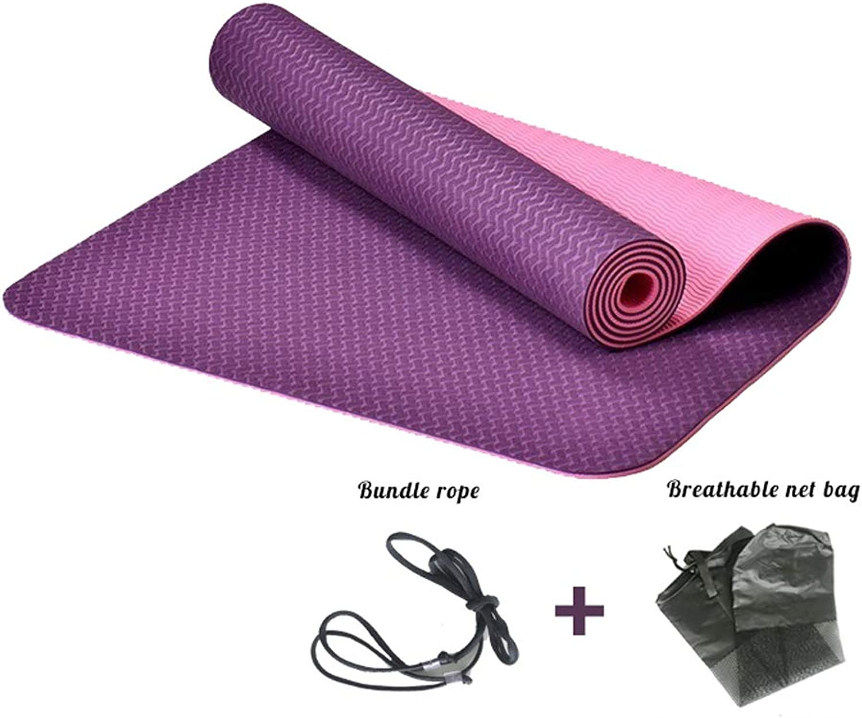 GLJ Yoga Mat Tasteless Non-Slip Beginner Thin Section Fitness Widened Yoga Mat Yoga mat (color   Dark Purple, Size   0.23in)