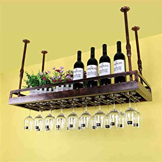 Wine Holder Hanging Mounted Metal Wine Rack,European Retro Iron Hanging Upside Down Beer & Inverted Bottle Shelf Goblet Ho...