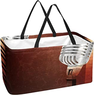Reusable Grocery Bags Unique Wood Plank Foldable Washable Large Storage Bins Basket Shopping Tote Bag