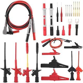 AkozonMultimeter Kit 28PCS P1300F Electrical Multimeter Test Leads Set Professional Safety Replaceable Multimeter Probe Test Lead Kits 4mm Banana Plug