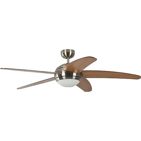 Ventilateur de plafond Réversible Melton Nickel 132 cm avec Eclairage et Télécommande, Pâles Miel Érable
