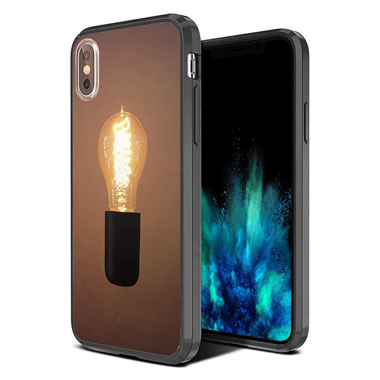 Moriko Case Compatible with iPhone Xs Max [Hybrid Slim Hard Back Shield with Fused TPU Edge Bumper Case Black] for iPhone Xs Max - (Light Bulb)