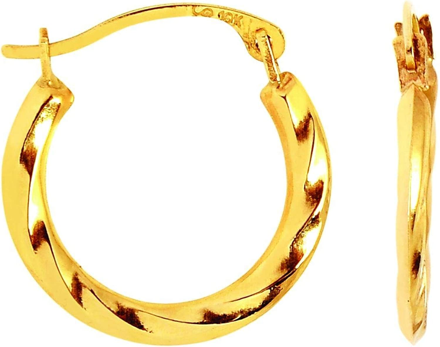 10K Yellow Gold Twisted Hoop Earring with with Hinged Clasp