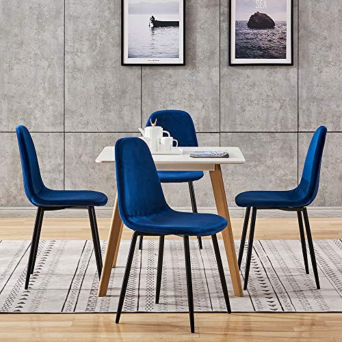 Huisen Furniture Modern Small Square Dining Table and Blue Velvet Chairs Set of 4, 5 Pieces Kitchen White Wooden Dining Room Table and 4 Fabric Chairs for Apartment