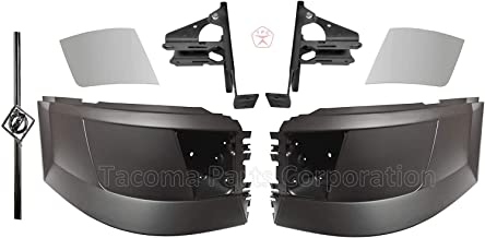 Volvo Truck Bumper Corner Extension with Fog Light Hole | Set 2004-2015 plus FREE Chrome Cover Trim, Mounting bracket set and Volvo Logo with stripe