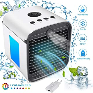 Mini ventilador portátil portátil para aire acondicionado, ventilador de mesa con 7 colores LED, luz nocturna para oficina, hotel, garaje, Blanco