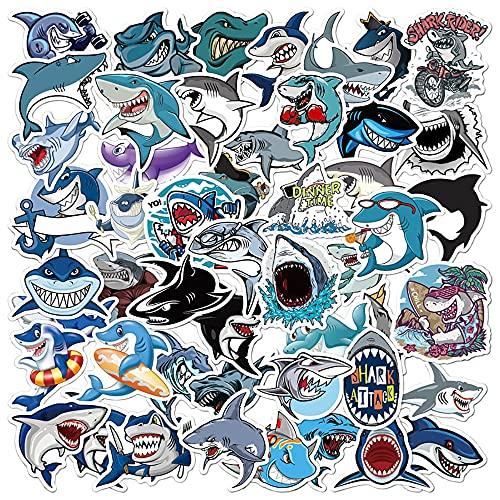 SHUHU Pegatinas de Animales de tiburón de Dibujos Animados, Equipaje de Viaje, teléfono, Guitarra, Nevera, portátil, Impermeable, PVC, calcomanía de Juguete clásico, Pegatinas 50 Uds
