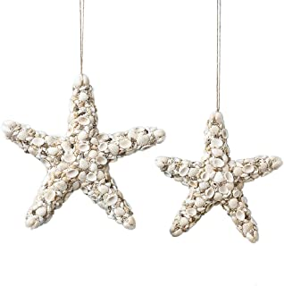 Collections Etc Set of 2 Decorative Shell Starfish Hanging Beach Coastal Wall Decor