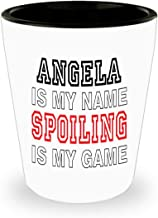 White Ceramic Shot Glass Angela Is My Name Funny Gifts for Angela Grandmother Best Gift Idea for Birthday Christmas Mothers Day,am4344