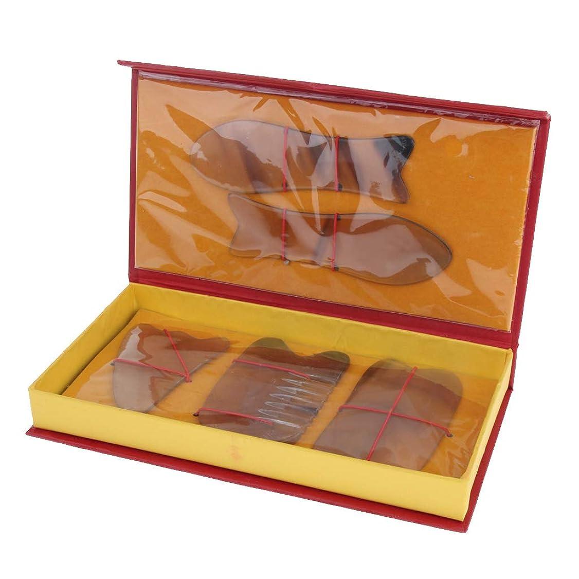 軽食なす定義Baoblaze 5本 マッサージボード スクレーパー フェイス フルボディー 2色選べ - 黄