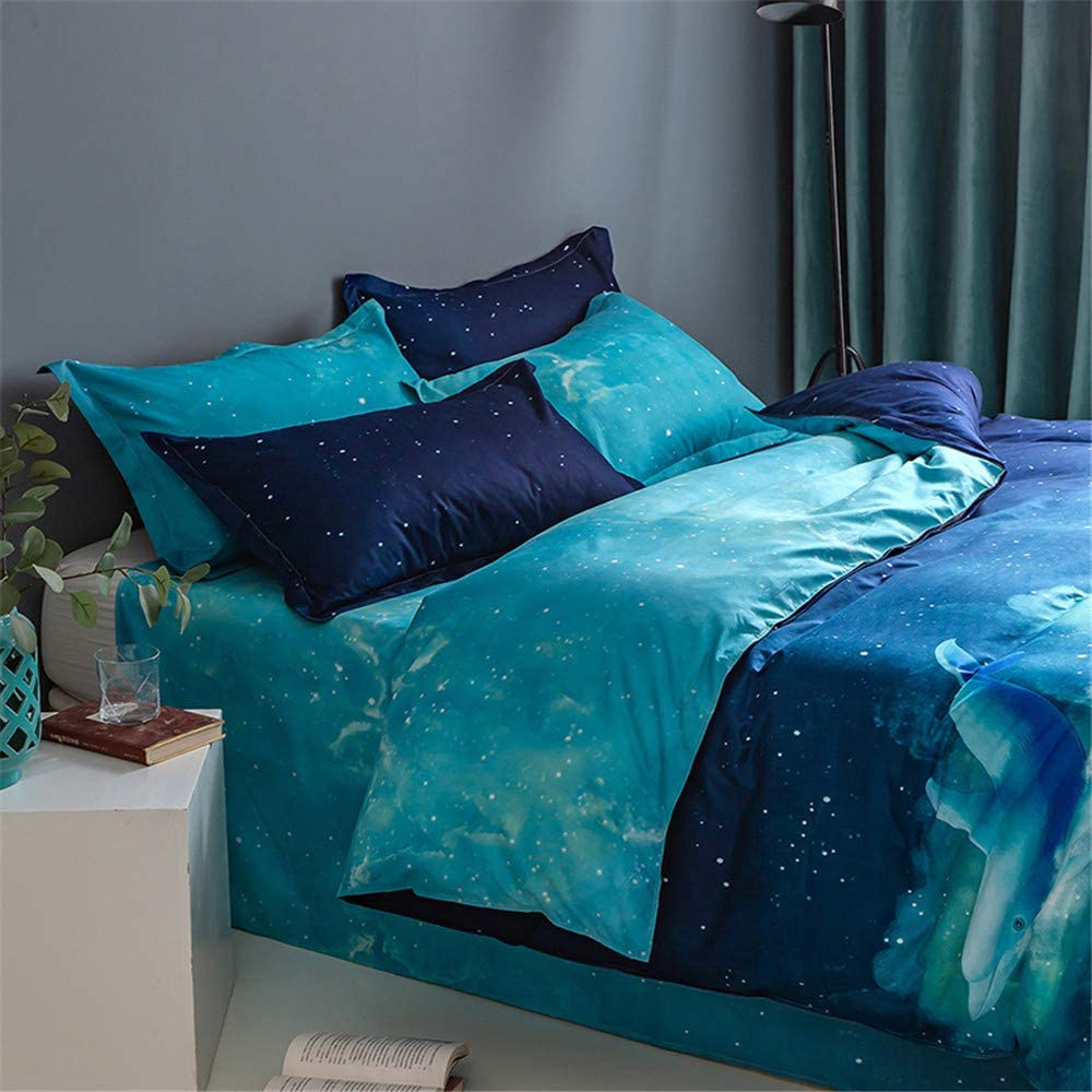 JEEFTTBY 3D Dolphin Duvet Cover Bedding Set Animal Blue Ocean Duvet Cover Bedding Soft Duvet Cover for Adult Teens Breathable Quilt Cover King 104x90 No Comforter