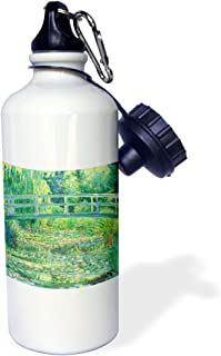 3dRose wb_46577_1 Famous Monet's Water Lillies with Lavender Frame Sports Water Bottle, 21 oz, White