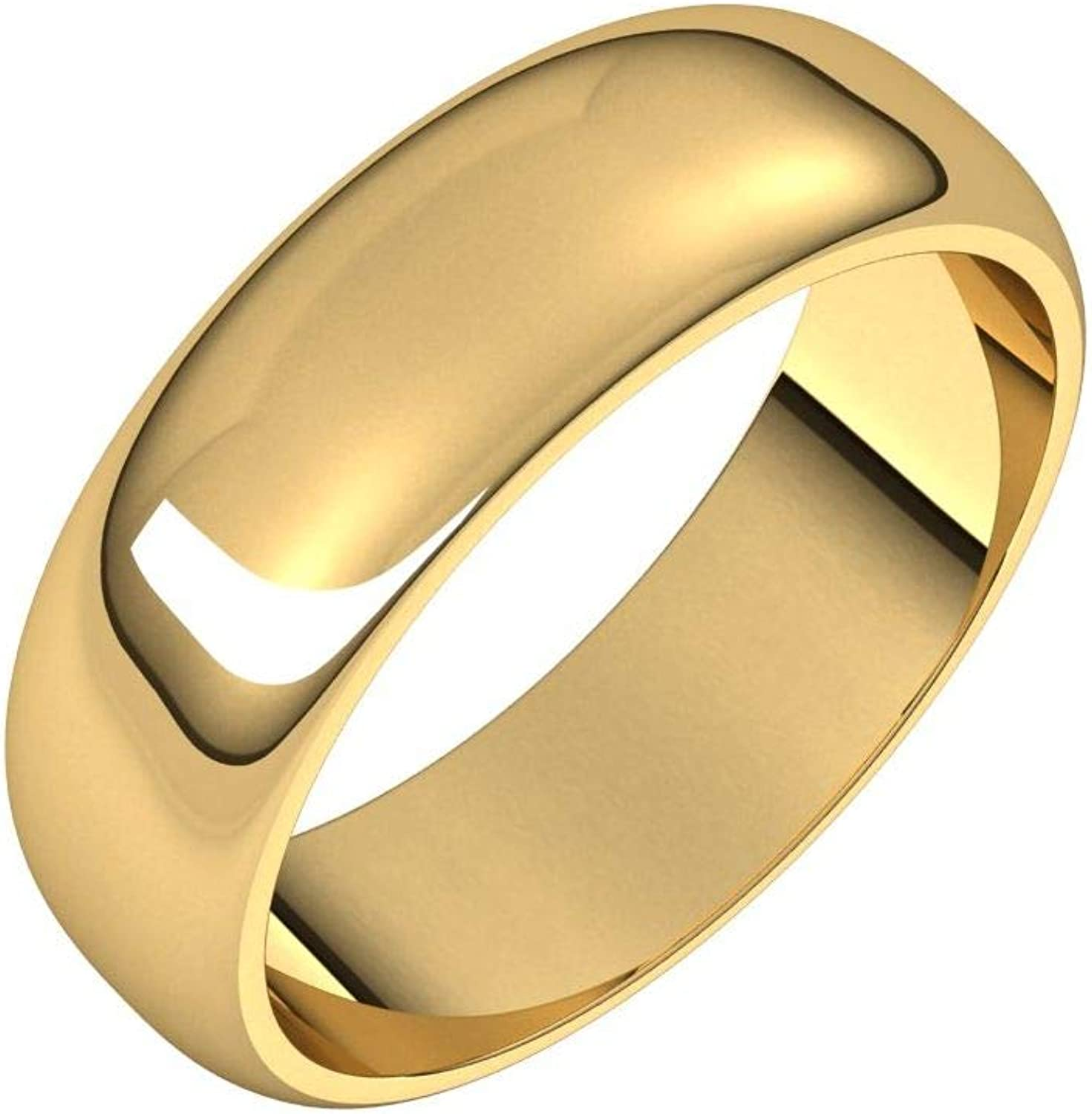 Diamond2Deal 10K Yellow 6 mm At the price Half Round for Wo Wedding New Free Shipping Ring Band