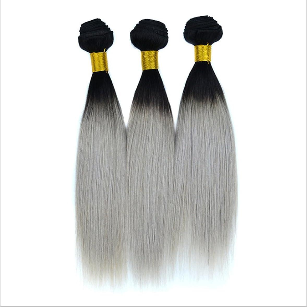 マージ収束アートバージンリアルストレート人間の毛のカーテンブラジルの女性のためのヘアエクステンションナチュラルブラックグラデーションシルバーグレーヘアピンストレートヘア100g(10inch?18inch) (サイズ : 14 inches)