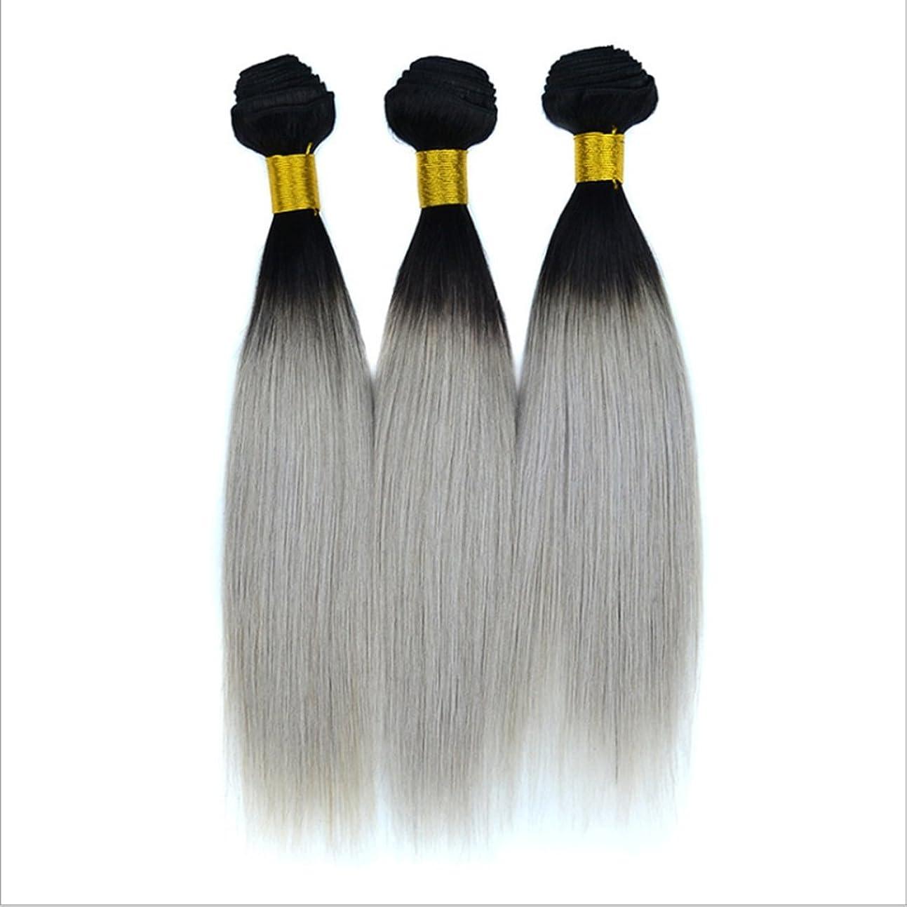 文化解決するバージンリアルストレート人間の毛のカーテンブラジルの女性のためのヘアエクステンションナチュラルブラックグラデーションシルバーグレーヘアピンストレートヘア100g(10inch?18inch) (サイズ : 12 inches)