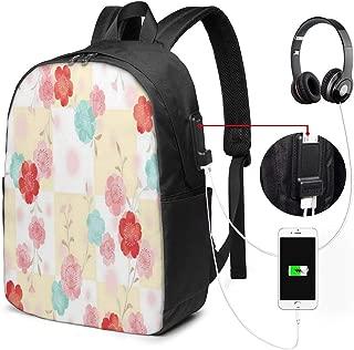 Travel Laptop Backpacks Sweet Flower Pattern USB Charging Port Back Pack for Women Men College School 17