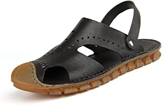 Muyin Mens Fashion Sandals Casual Summer New Genuine Leather Slip-Resistant Dual-Purpose Slipper