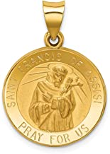 14k Yellow Gold Saint Francis Of Assisi Medal Pendant Charm Necklace Religious Patron St Franci Fine Jewelry Gifts For Women For Her