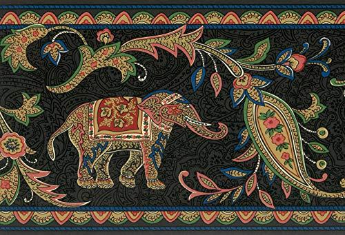 Dundee Deco BD6152 Tapeten Bordüre mit Tiermotiven, 4,57 m x 17,5 cm, Schwarz/Grün/Blau/Rot Tapetenbordüre