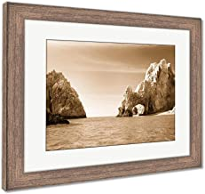 Ashley Framed Prints Sunny Lovers Beach in Cabo San Lucas Mexico, Wall Art Home Decoration, Sepia, 26x30 (Frame Size), Rustic Barn Wood Frame, AG6533836