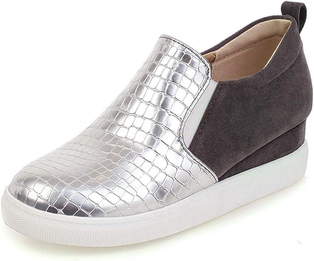 heelchic Women's Slip On Plat Form Wedge Sneakers PU Comfortable Walking Shoes