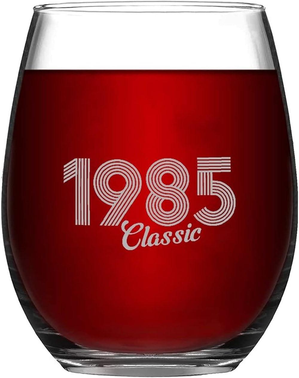 Classic 1985 Vintage Years Wine Stemless Austin Mall Glasses Popular overseas Annivers Custom