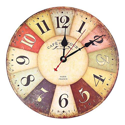 Soledi Horloge murale en quartz Motif rétro