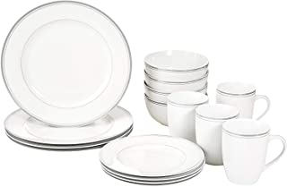 AmazonBasics 16-Piece Cafe Stripe Kitchen Dinnerware Set, Plates, Bowls, Mugs, Service for 4, Grey