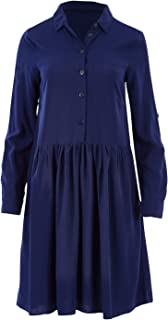 Bird Keepers Womens Knee Length Dresses The Drop Waist Shirt Dress Navy
