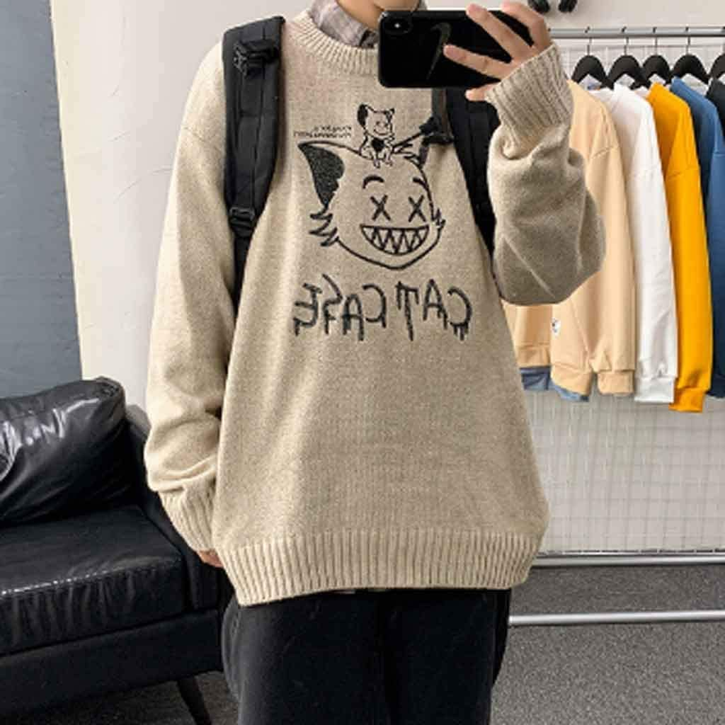 TWDYC 2020 Winter New Couple Sweaters Casual Oversize Men's Pullovers Korean Streetwear Graphic Printed Male Sweater (Color : B, Size : L Code)