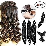 HailiCare 30 Pcs Bigoudis de Cheveux Flexible Bigoudis en Eponge Souples Rouleux de Cheveux Outils de Coiffure Hair Curlers DIY...