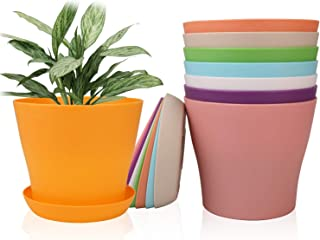 6.5 Inches Plastic Plant Pots with Drainage Holes, Ufrount Gardening Containers, Flower Pots, Perfect for Garden/Yard/Kitc...