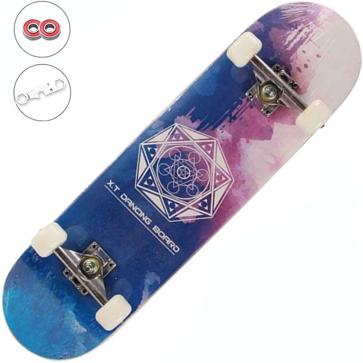 Beginners Girls,Boys,Kids,Adults Sumeber Skateboards Complete 31x8 7 Layer Canadian Maple Double Kick Concave Deck Skating Skateboard for Teens