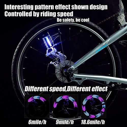 LED Bike Spoke Lights Waterproof - DAWAY A12 Cool Bicycle Wheel Light (2 Pack), Safety Tire Lights for Kids Adult, Very Bright, Auto & Manual Dual Switch, 30 Pattern, Include Battery
