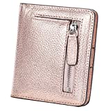 AINIMOER Small Leather Wallet for Women, Ladies Credit Card Holder RFID Blocking Women's Mini Bifold Pocket Purse, Champaign Gold