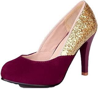 VogueZone009 Women's Kitten-Heels Round-Toe Pu Pull-On Pumps-Shoes