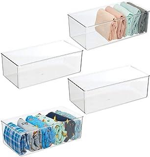 mDesign boîte de rangement pratique (lot de 4) – grande boîte en plastique sans BPA pour la chambre – caisse de rangement ...