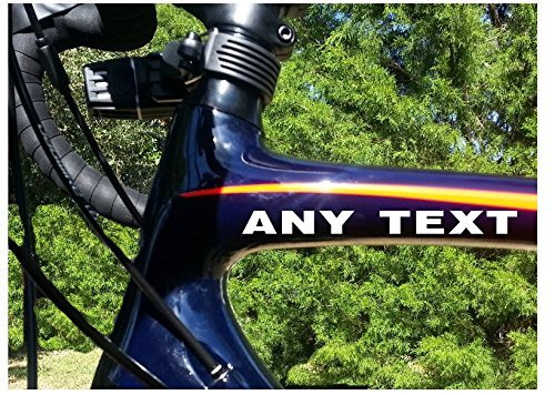 StickerLoaf Brand ANY TEXT Bicycle Head down Tube Frame Fork Decal Sticker Cycling Cyclist Cycle Bike Road Trail MTB Mountain Racing Race Century Metric trek specialized giant cannondale