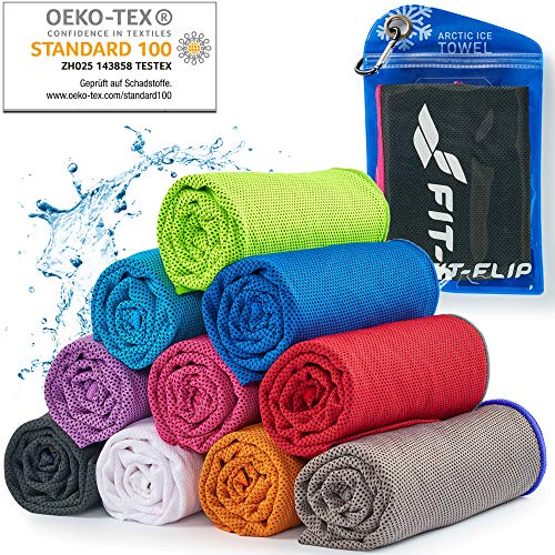 Cooling Towel für Sport & Fitness – Mikrofaser Handtuch/Kühltuch als kühlendes Handtuch für Laufen, Trekking, Reise & Yoga – Cooling Towel – Farbe: schwarz-rosa Rand, Größe: 100x30cm