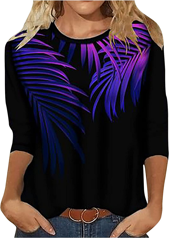 Fashion Womens Tops Trendy Autumn Printing Blouse Tops Crewneck Sweatshirts Long Sleeve T-Shirt
