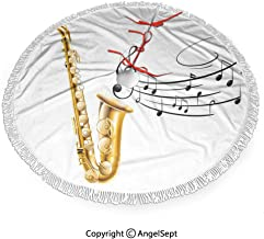 30 inch Christmas Tree Skirt Illustration of Fancy Old Saxophone with Template Solo Vibes Art Print Decor,3D Print Tree Skirt with Delicate pom pom Edge